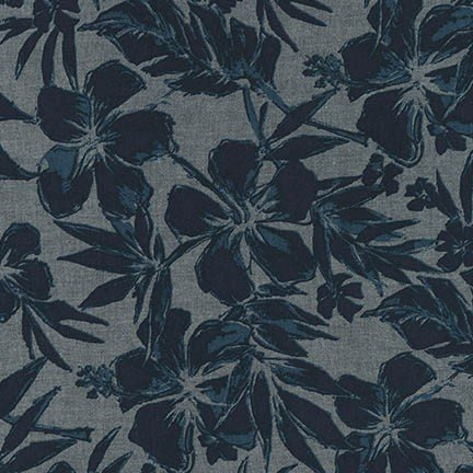 Fabric Chambray Print Hibiscus