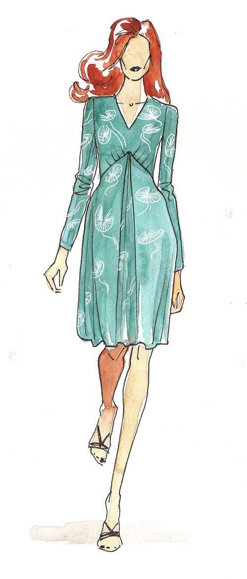 Pattern Pleat Front Dress Christine Jonson