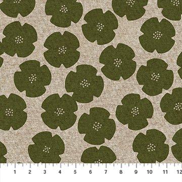 Fabric Linen/Cotton Blend - Green/Natural Flowers