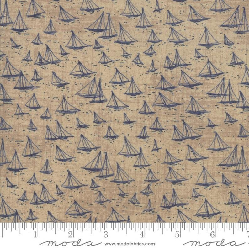 Fabric Ebb and Flow Moda Blue On Beige