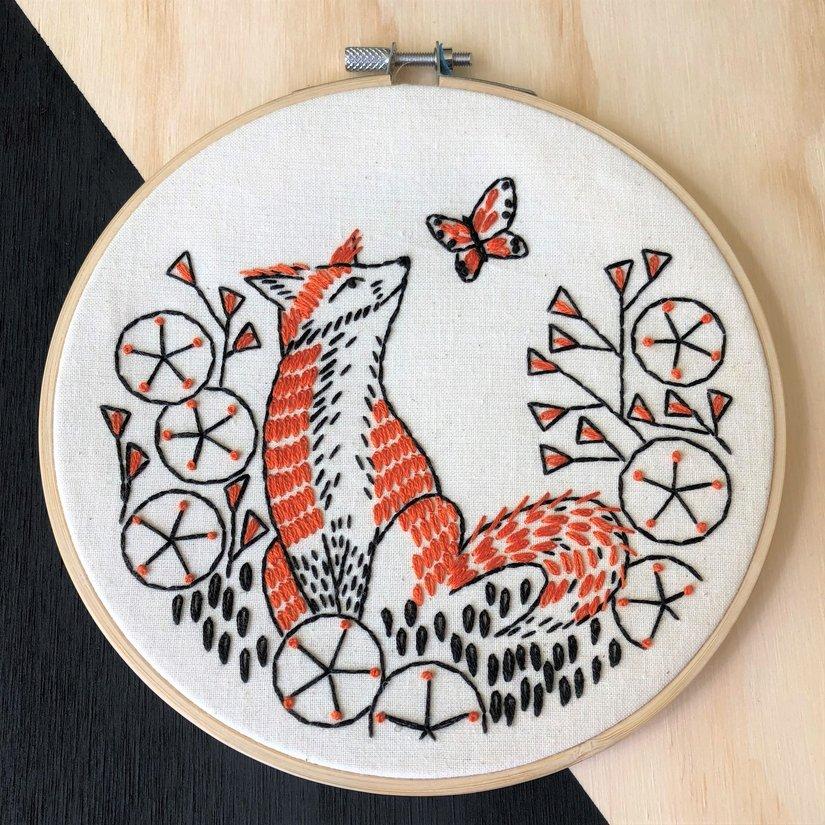 Embroidery Kit - Fox In Phlox - Hook, Line & Tinker