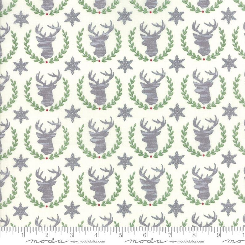 Fabric Hearthside Holiday - Silver Reindeer on White