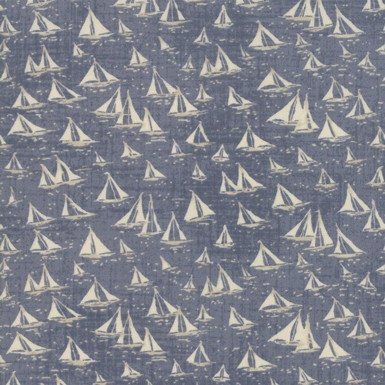 Fabric Ebb and Flow Moda White on Blue