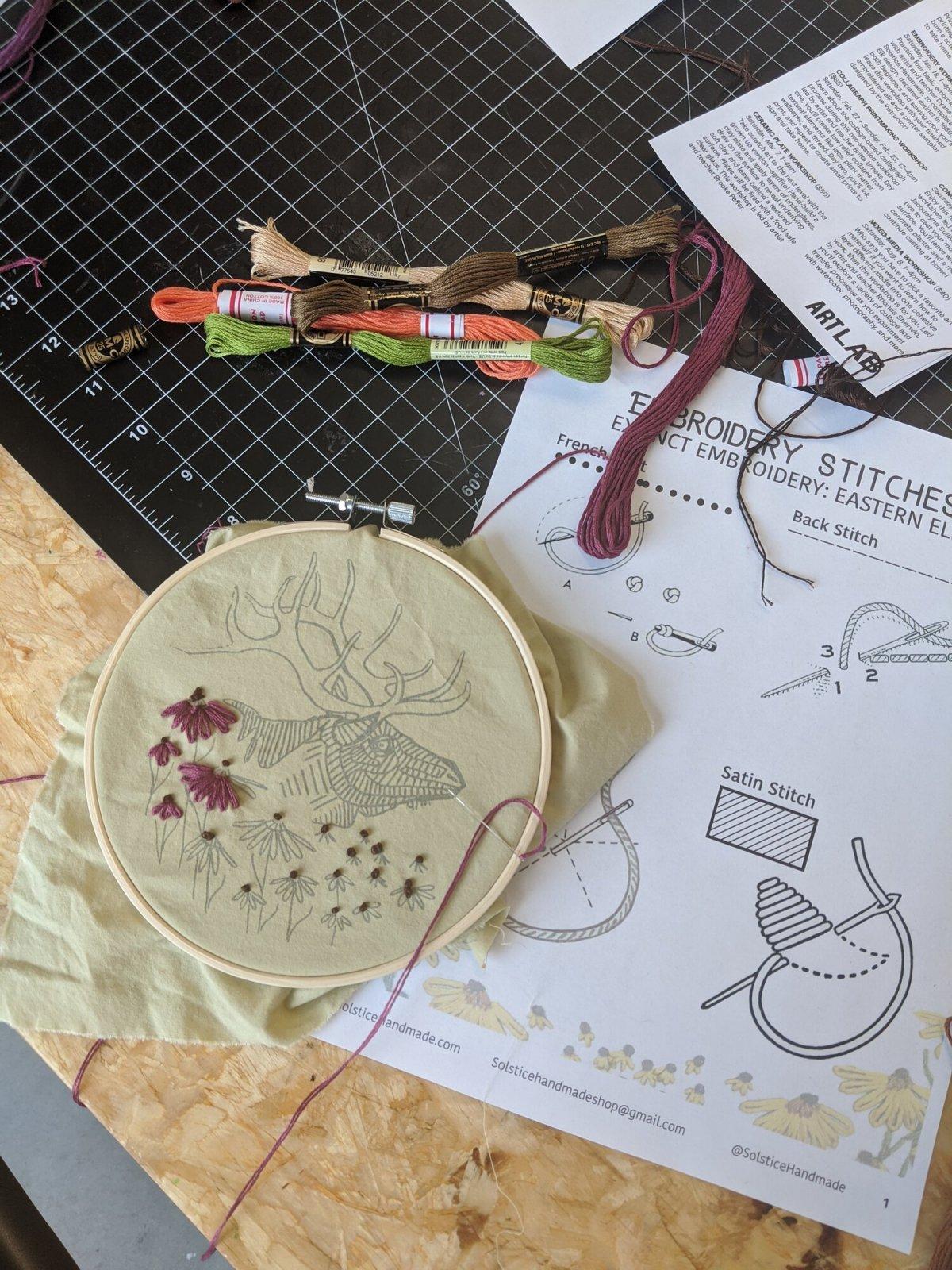 Embroidery Kit - Eastern Elk - Solstice Handmade
