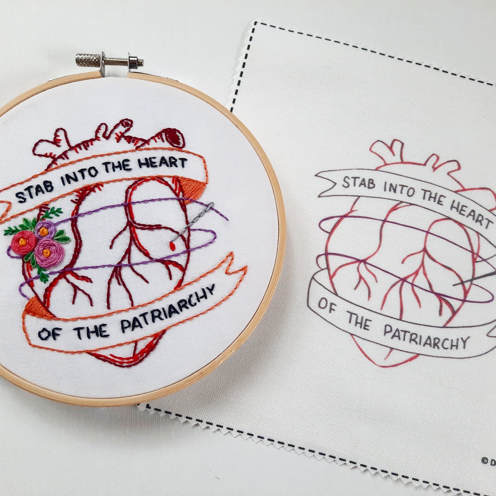 Emboidery Kit Stab Into the Heart of the Patriarchy - Downy Tree Art