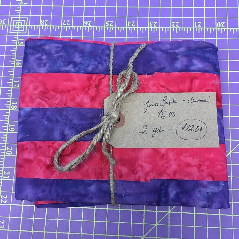 Fabric Java Batik 100% Cotton REMNANT Blue/Pink Stripe - 2 Yards