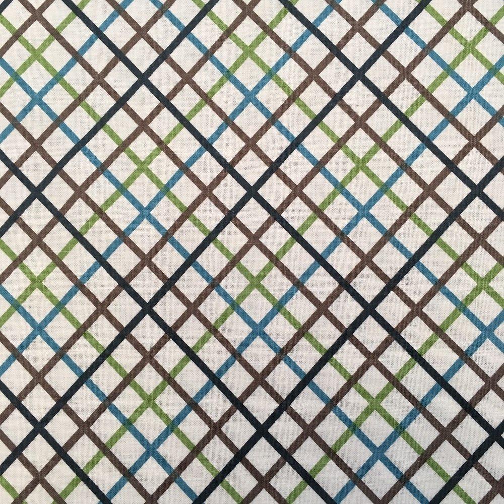 Linen/Rayon Blended Woven - Blue/Green/Brown Chevron Stripe