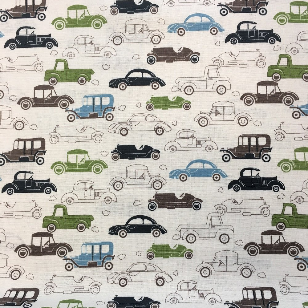 Linen/Rayon Blended Woven: Antique Cars Print