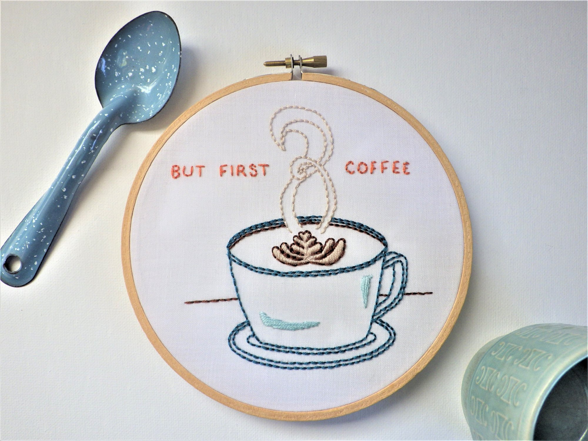 Embroidery Kit But First Coffee - Downy Tree Art