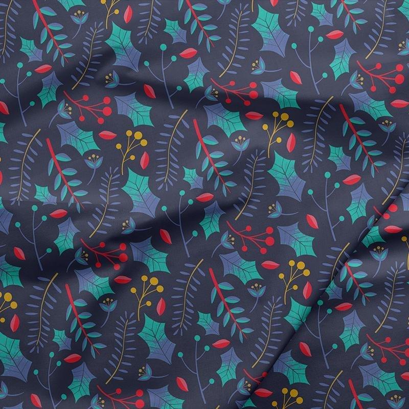 Fabric Night of the Nutcracker - Multi Leaves on Dark Blue