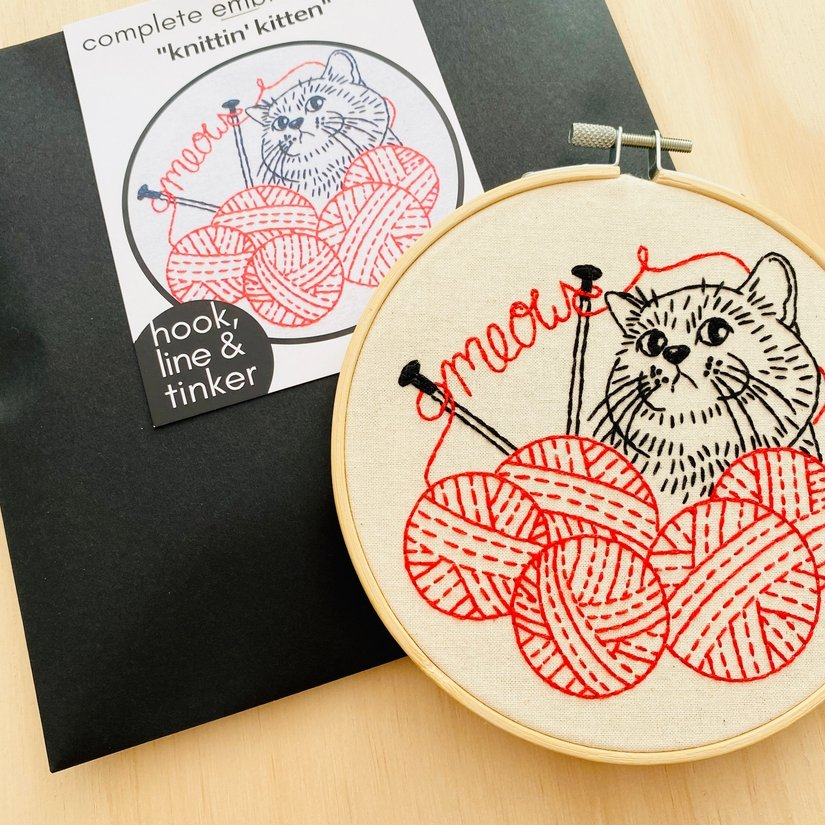 Embroidery Kit - Knittin' Kitten - Hook, Line & Tinker