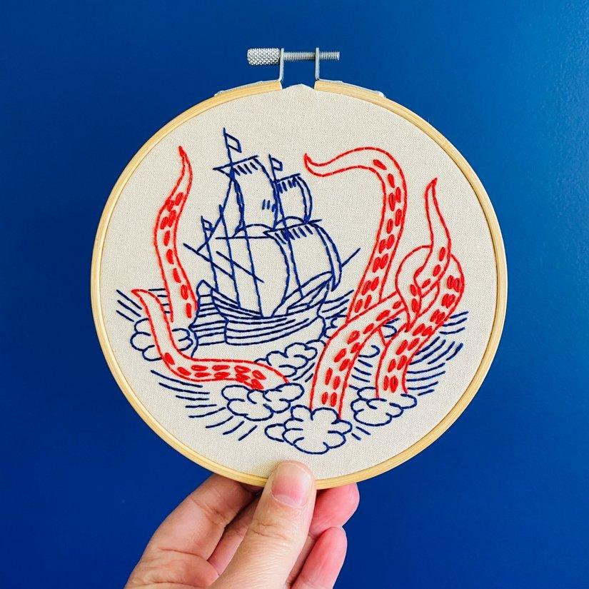 Embroidery Kit - Release the Kraken - Hook, Line & Tinker