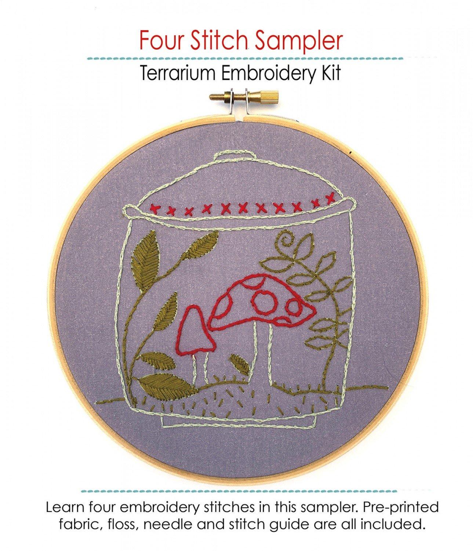 Embroidery Kit Terrarium Four Stitch Sampler