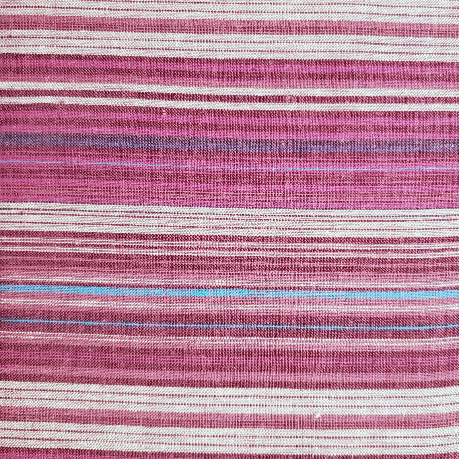 Fabric Imported European 100% Linen - Magenta Sunset Stripe REMNANT 2.5 Yards