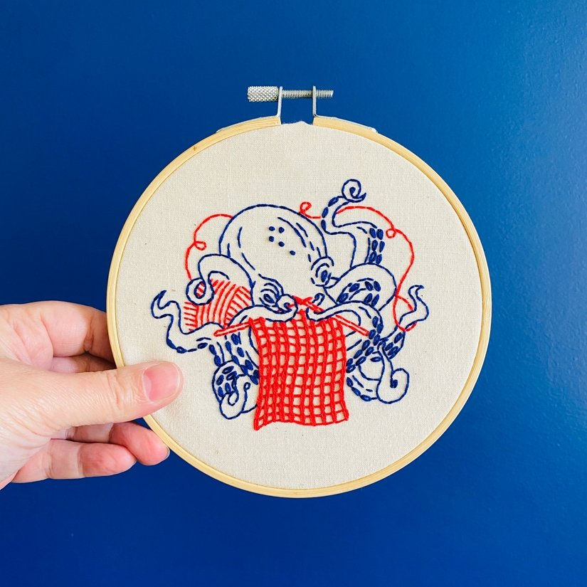 Embroidery Kit - Industrious Octopus - Hook, Line & Tinker