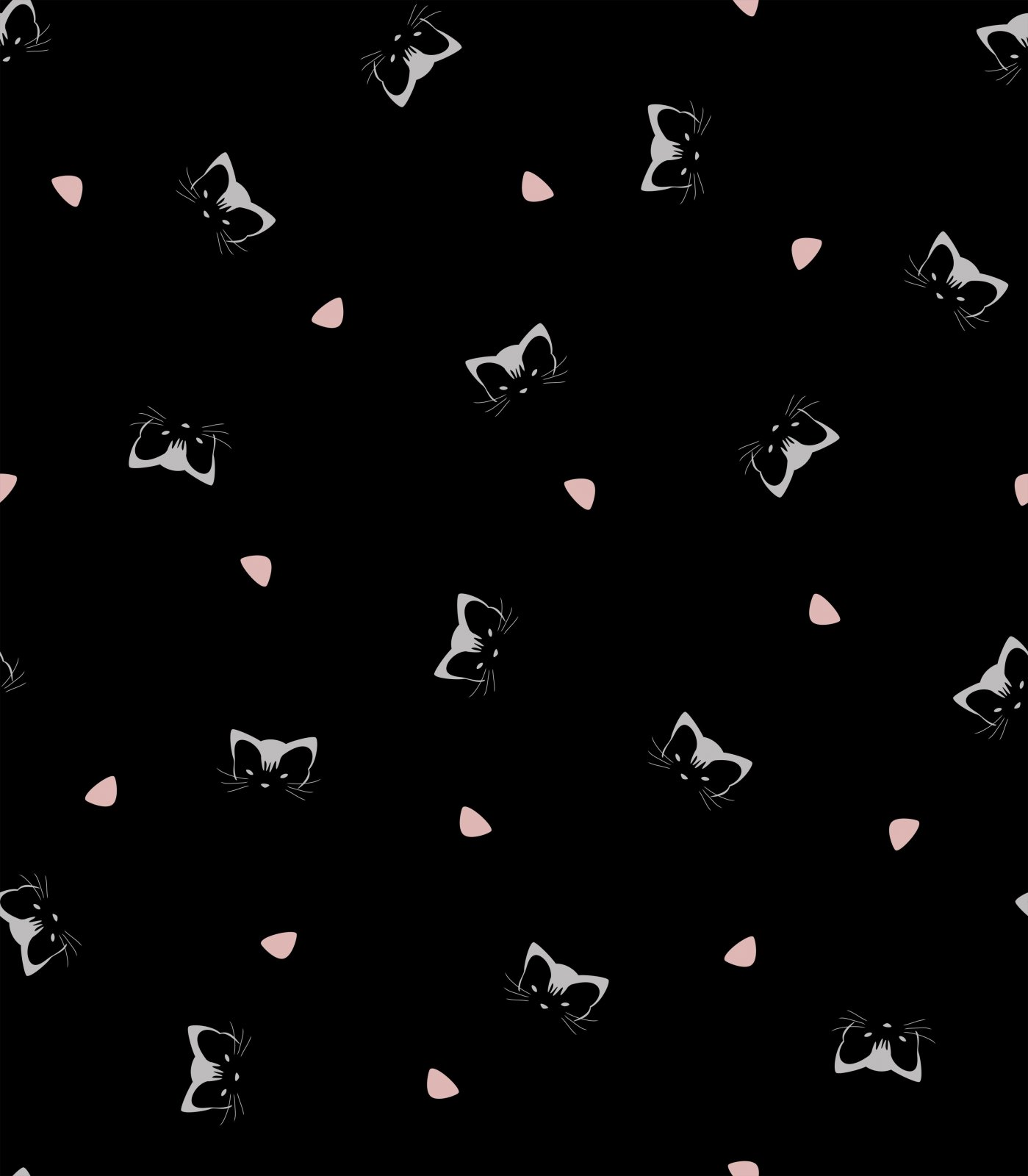 Fabric Stof Avalana Jersey - Kitty Faces on Black