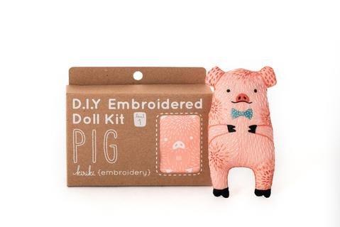 Embroidery Kit Doll Pig Kiriki Press