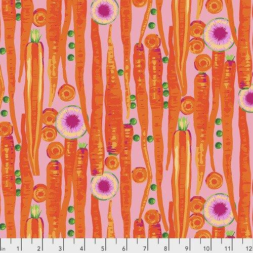 Fabric Veggies Carrots Bright REMNANT 3/4 Yard
