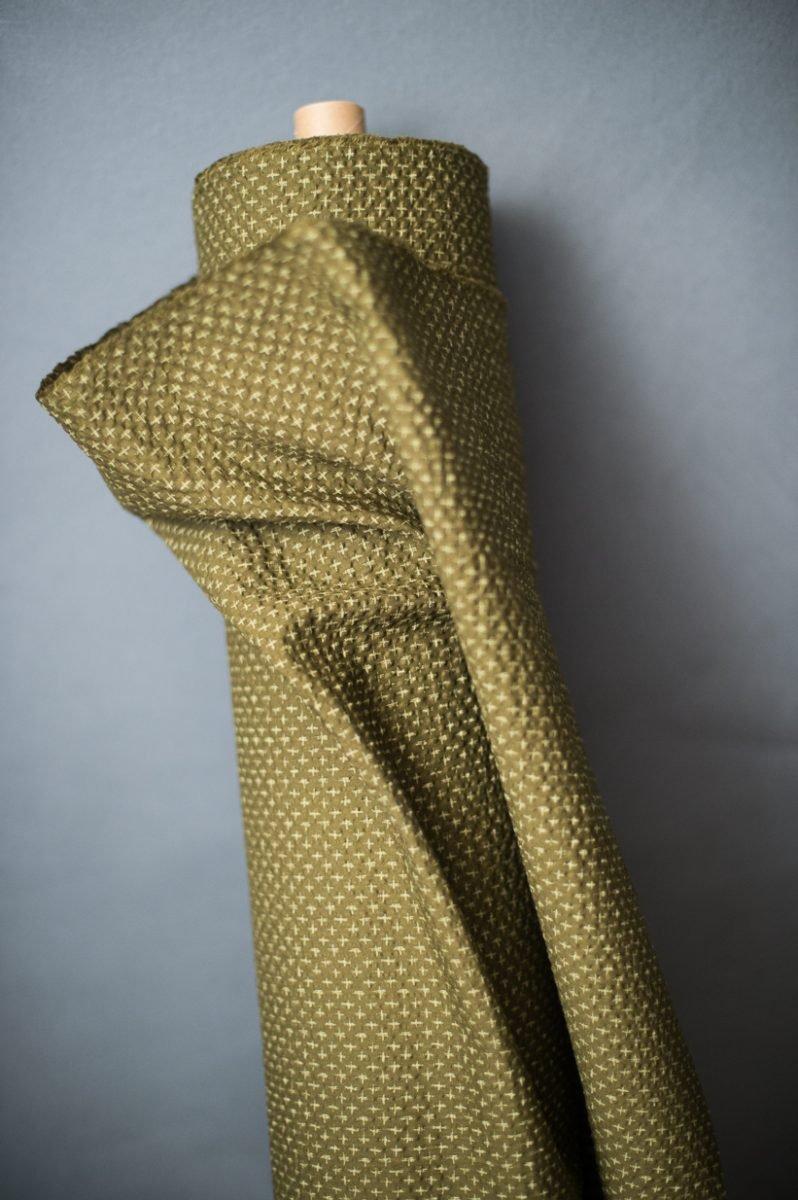Fabric Tottorri Cross Japanese Seersucker Green - Merchant & Mills