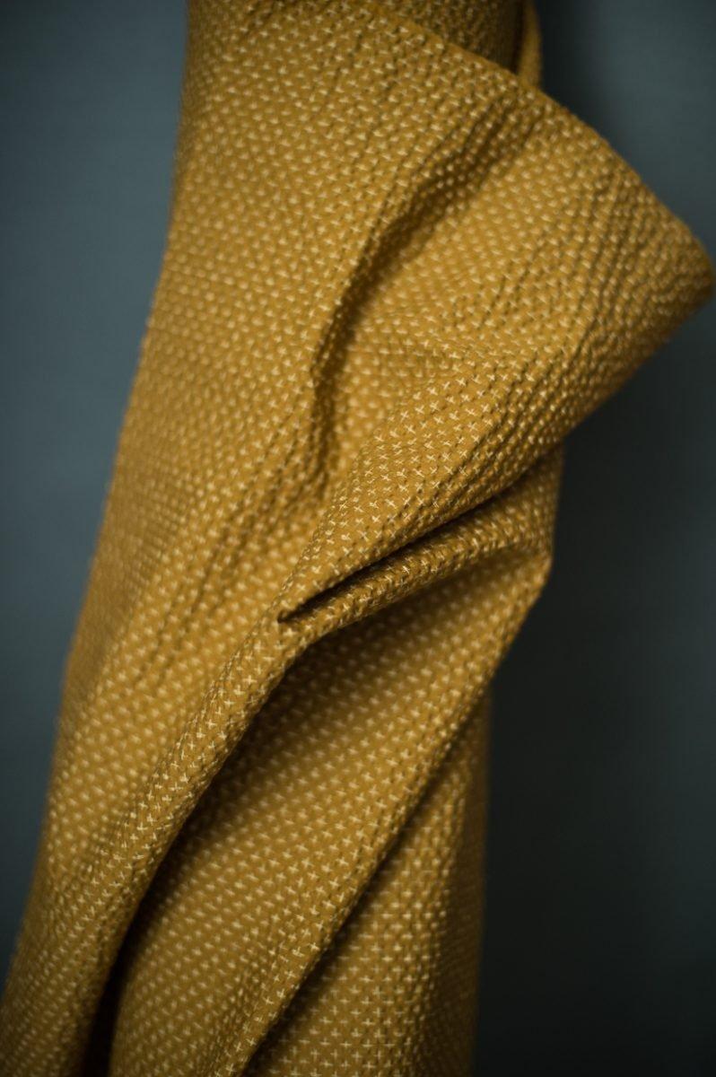 Fabric Tottorri Cross Japanese Seersucker Mustard Gold - Merchant & Mills