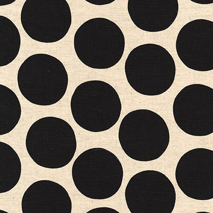 Fabric Cotton/Linen Black on White Dots Sevenberry
