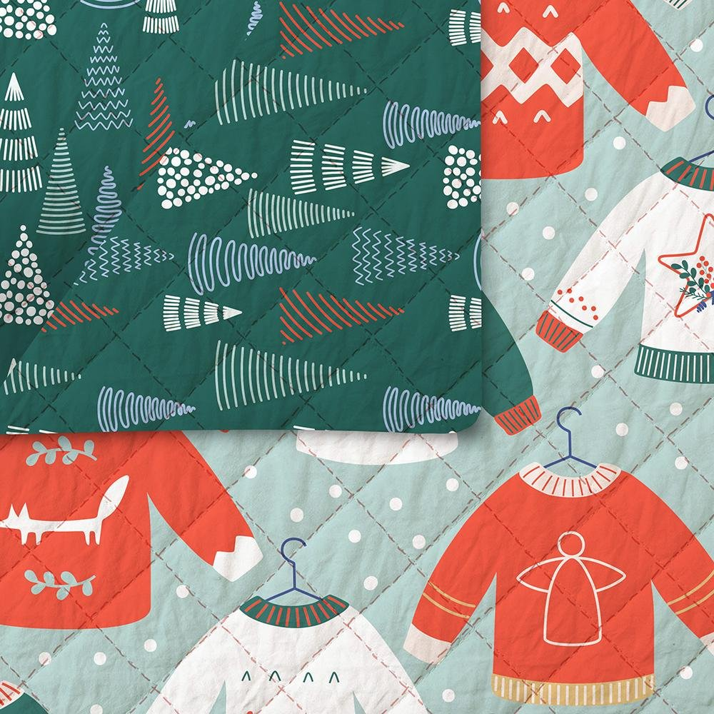 Fabric Pre-Quilted Reversible Christmas Trees / Sweaters