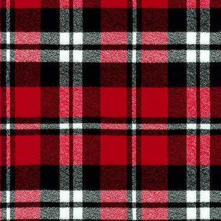 Fabric Mammoth Red Black & White Plaid Flannel