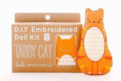 Embroidery Kit Doll Tabby Cat Kiriki Press