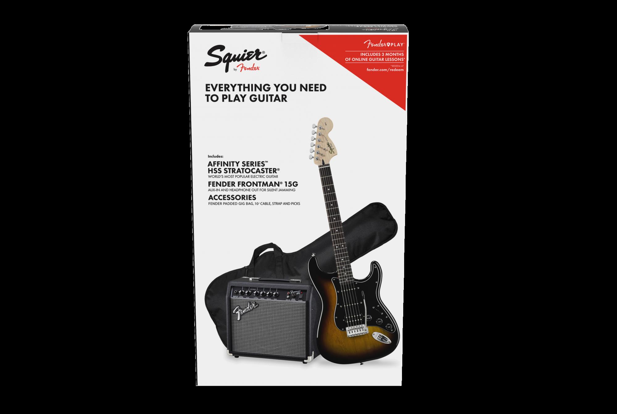 Squier Affinity Series  Stratocaster  HSS Pack, Laurel Fingerboard, Brown Sunburst, Gig Bag, 15G