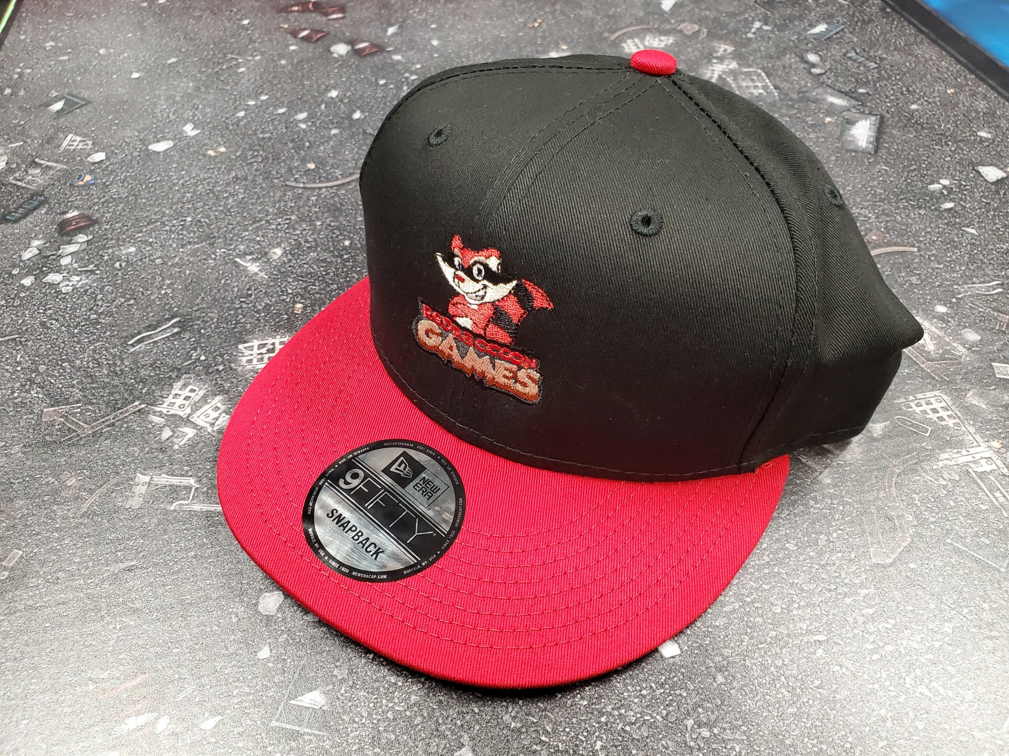RRG Logo New Era Flat Bill Snapback Hat - Black  & Scarlet