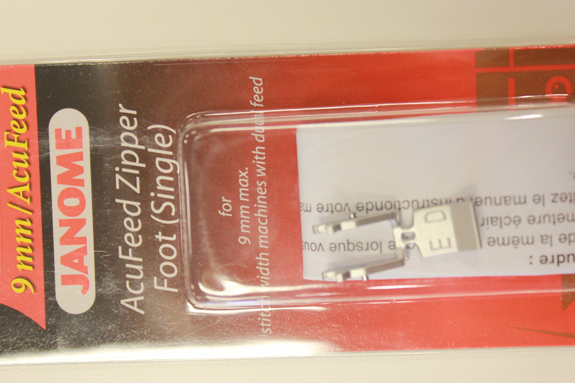 Janome AcuFeed Zipper Foot (Single)