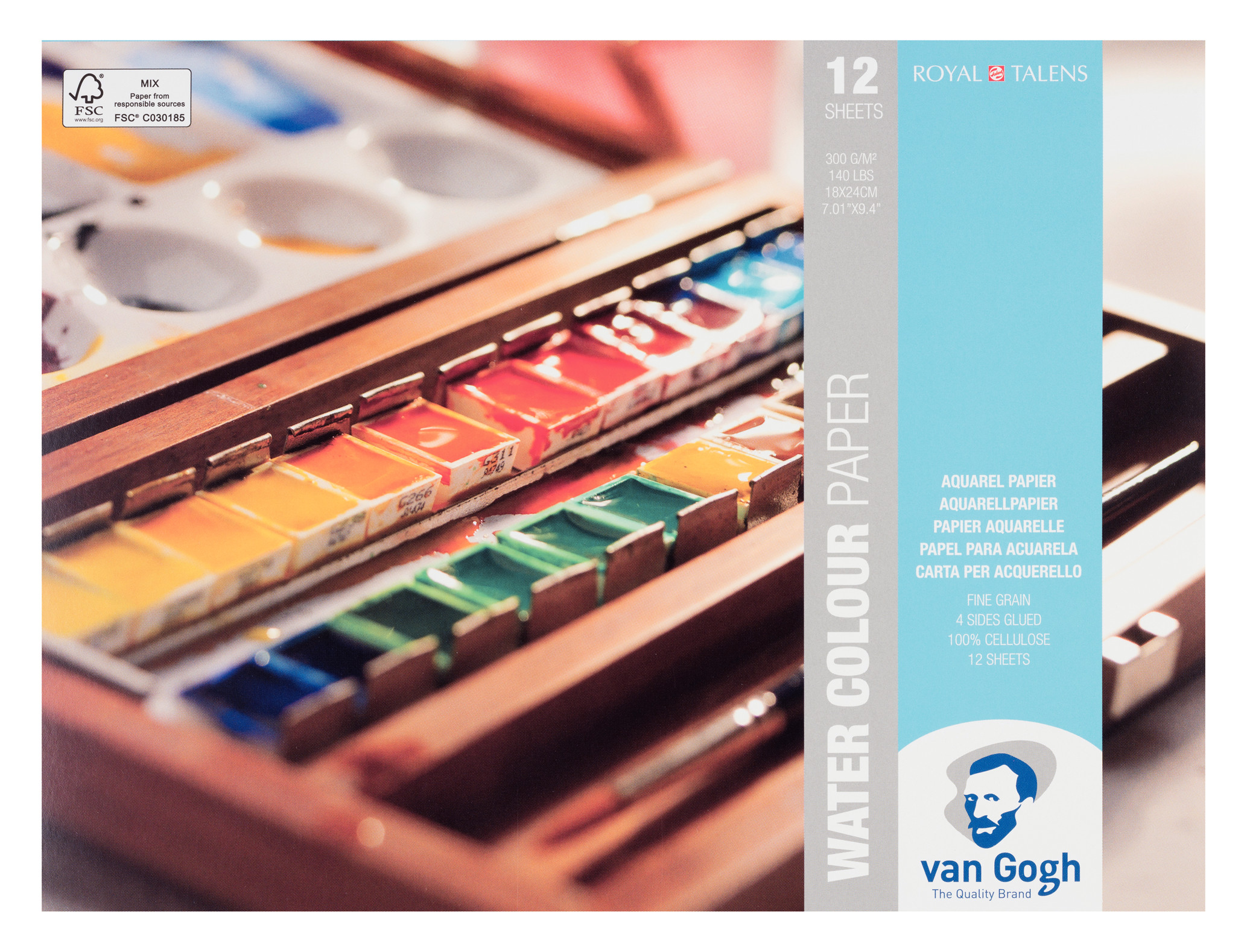 Van Gogh Water Colour Paper Block, 12 Sheets, 300g/140lb., size 18 x 24cm / 7.01 x 9.4