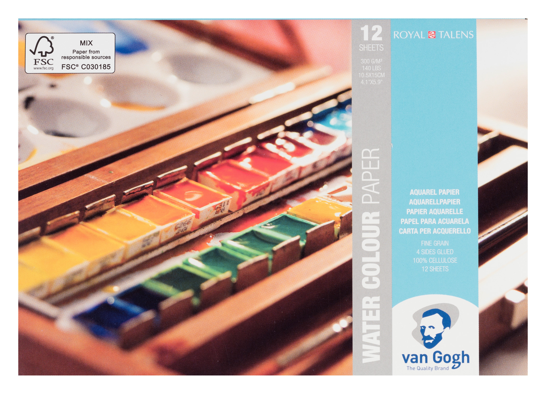 Van Gogh Water Colour Paper Block, 12 Sheets, 300g/140lb., size 10.5 x 15cm / 4.1 x 5.9