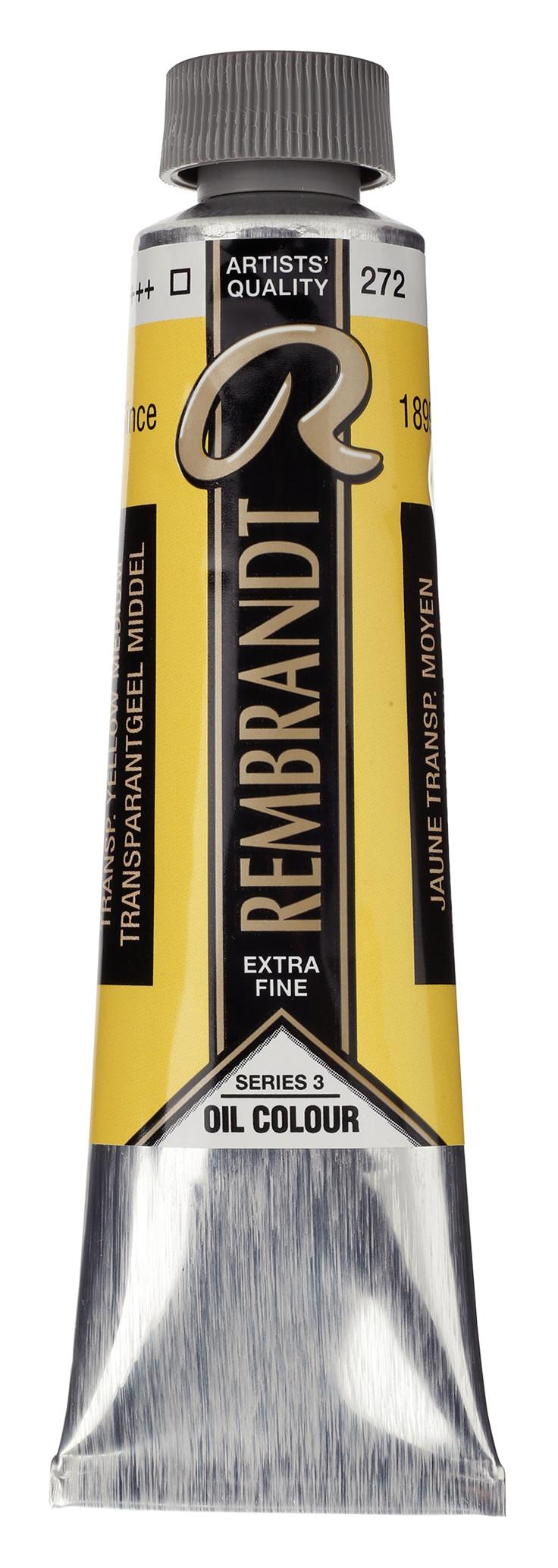 Rembrandt Oil colour Paint Transparent Yellow Medium (272) 40ml Tube