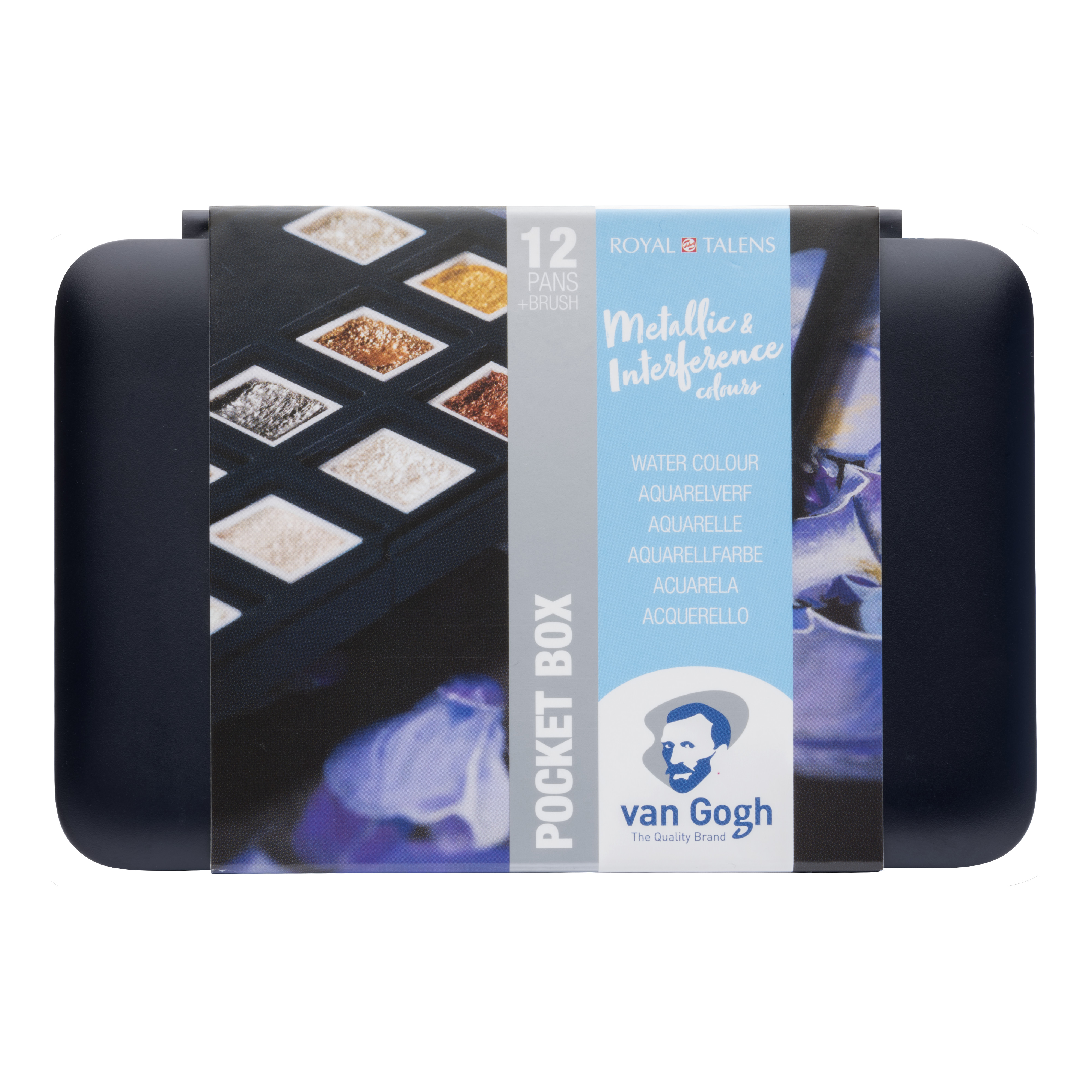Van Gogh Water Colour Pocket Box Specialty Colours with 12 Colours in Half Pans