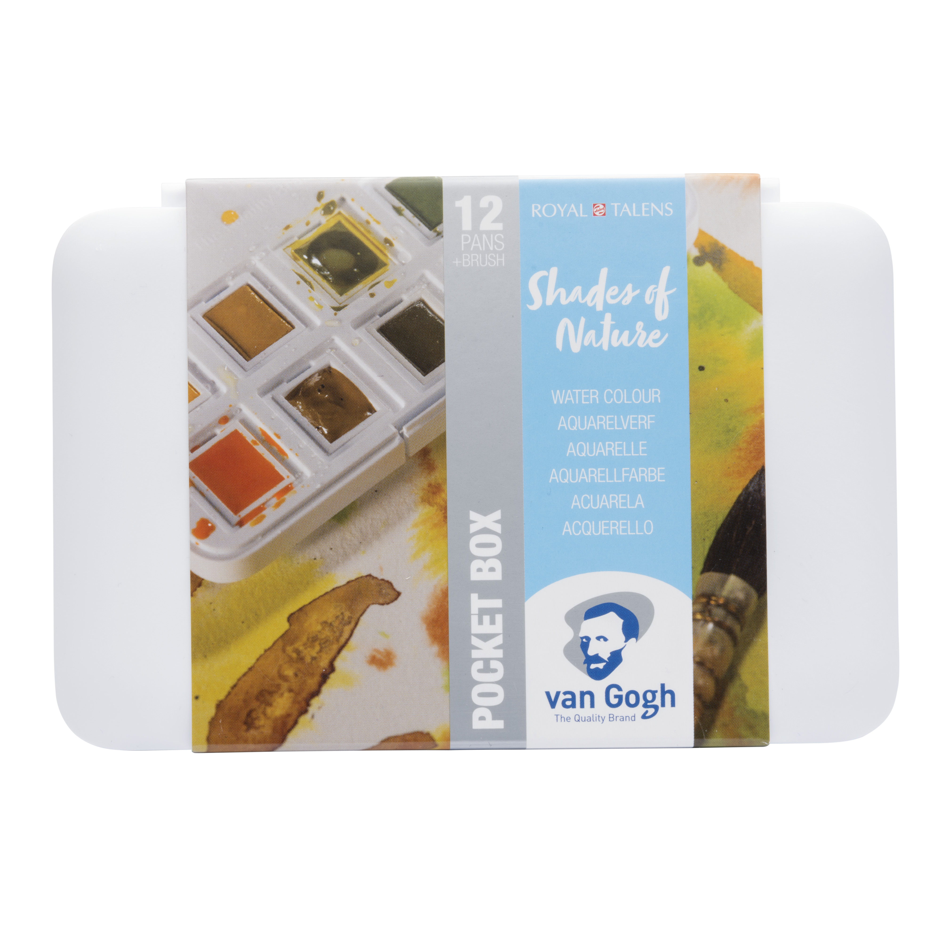 Van Gogh Water Colour Pocket Box Shades of Nature with 12 Colours in Half Pans