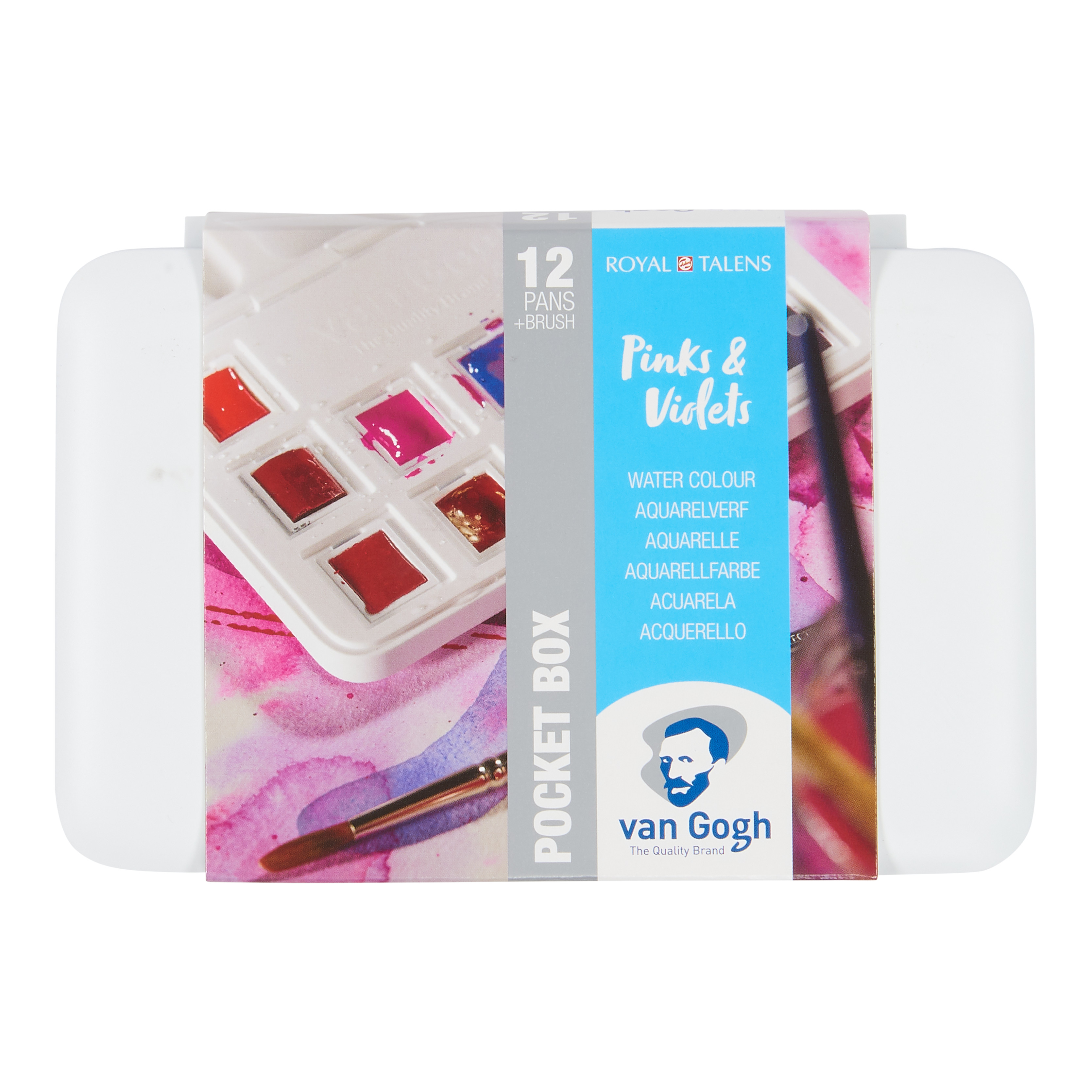 Van Gogh Water Colour Pocket Box Pinks & Violets with 12 Colours in Half Pans