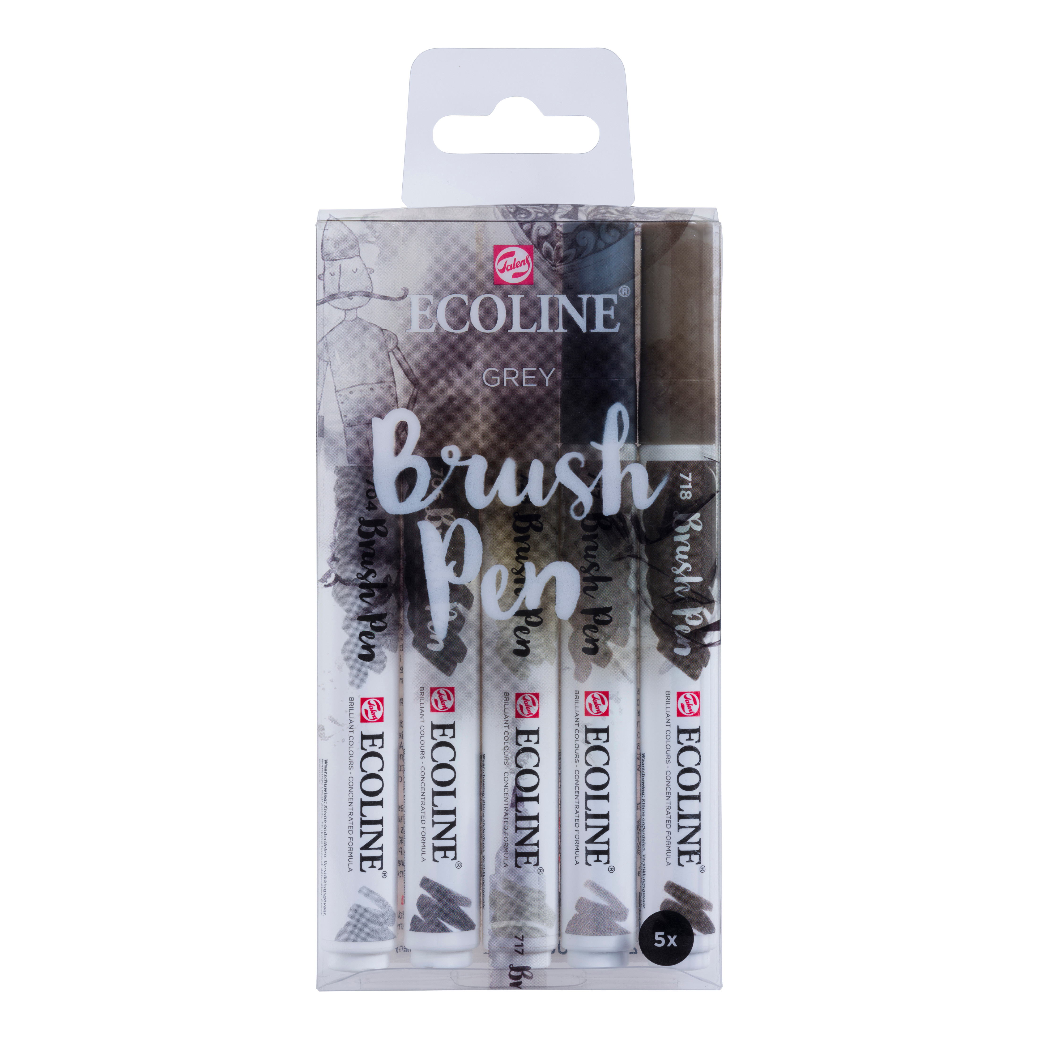 Ecoline Brush Pens Set of 5 - Grey