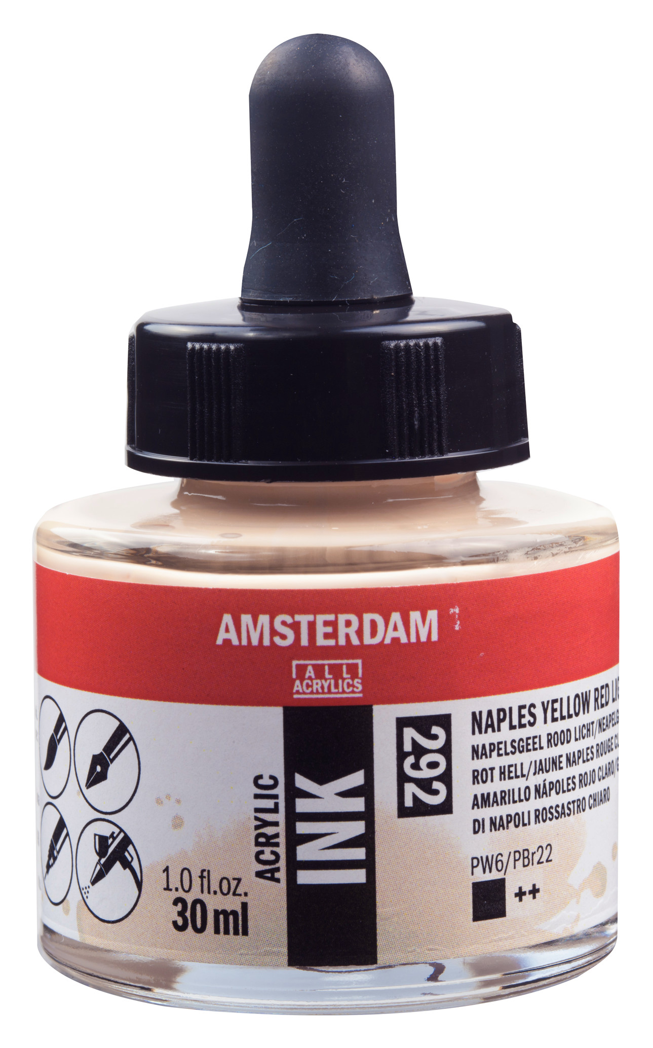 Amsterdam Acrylic Ink Bottle 30 ml Naples Yellow Red Light 292