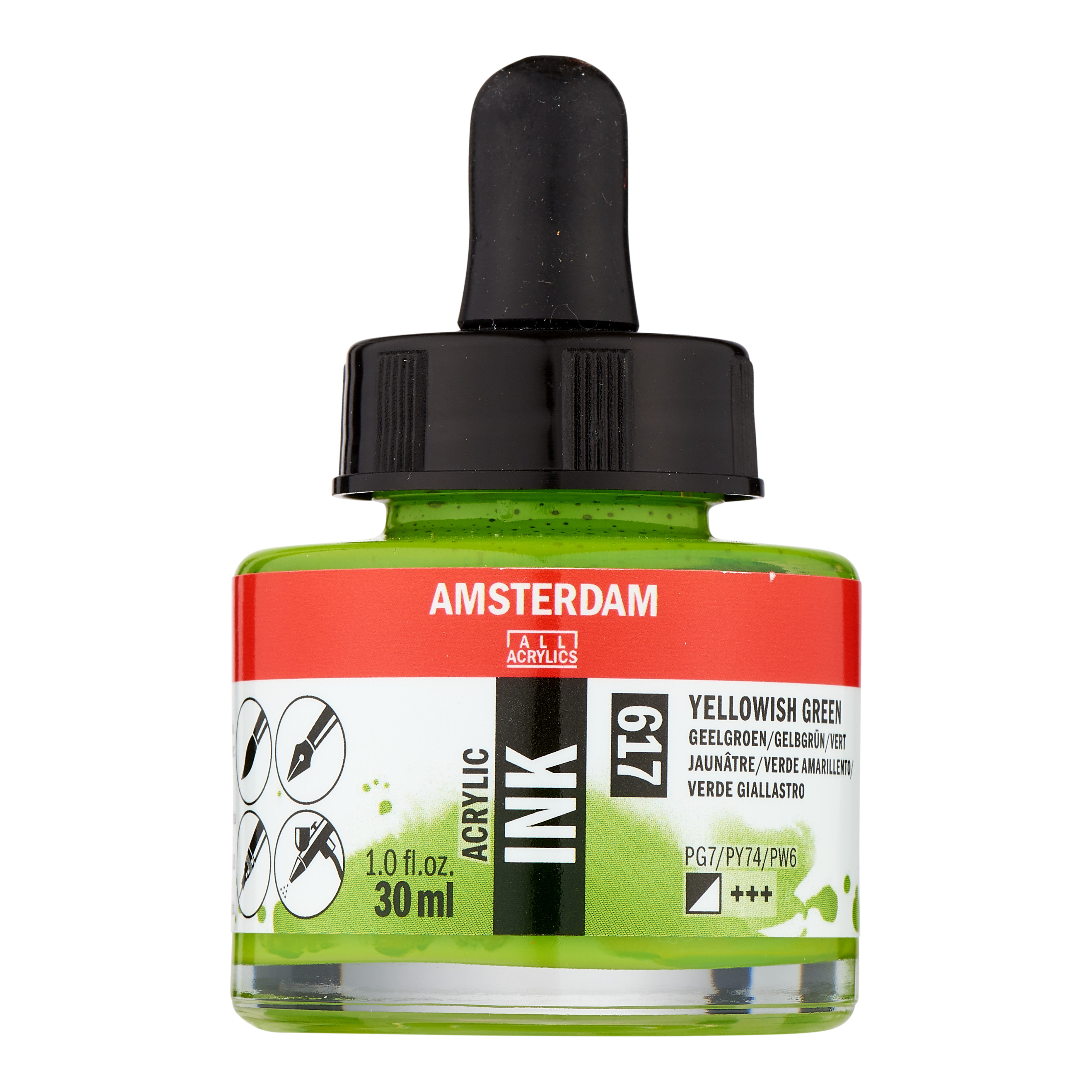 Amsterdam Acrylic Ink Bottle 30 ml Yellowish Green 617