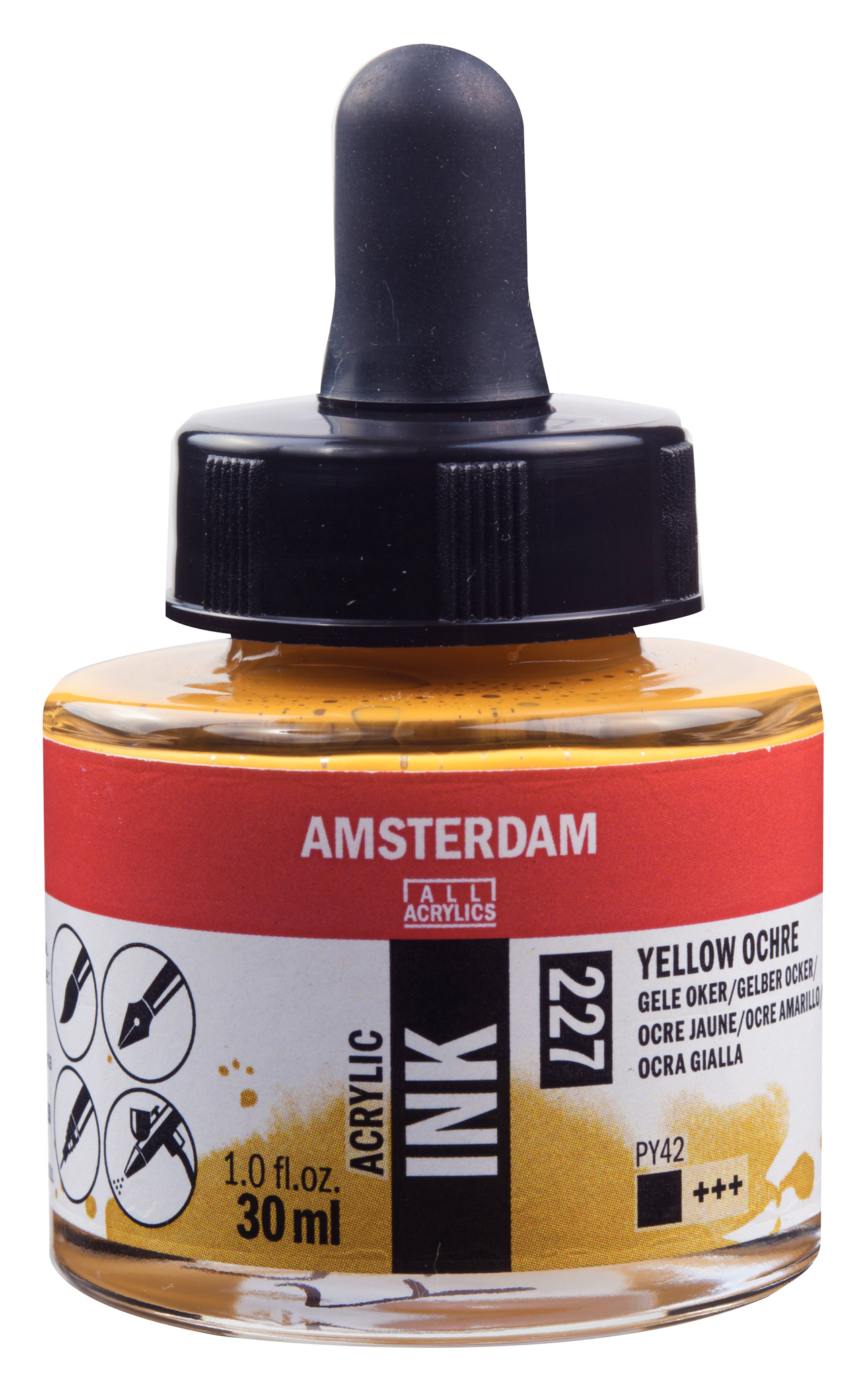 Amsterdam Acrylic Ink Bottle 30 ml Yellow Ochre 227
