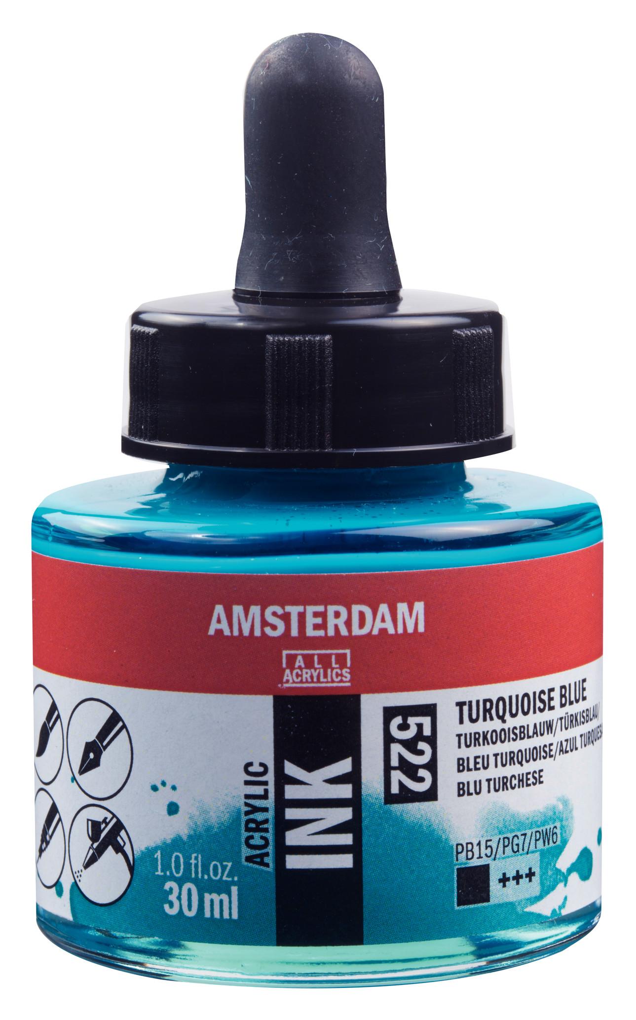 Amsterdam Acrylic Ink Bottle 30 ml Turquoise Blue 522