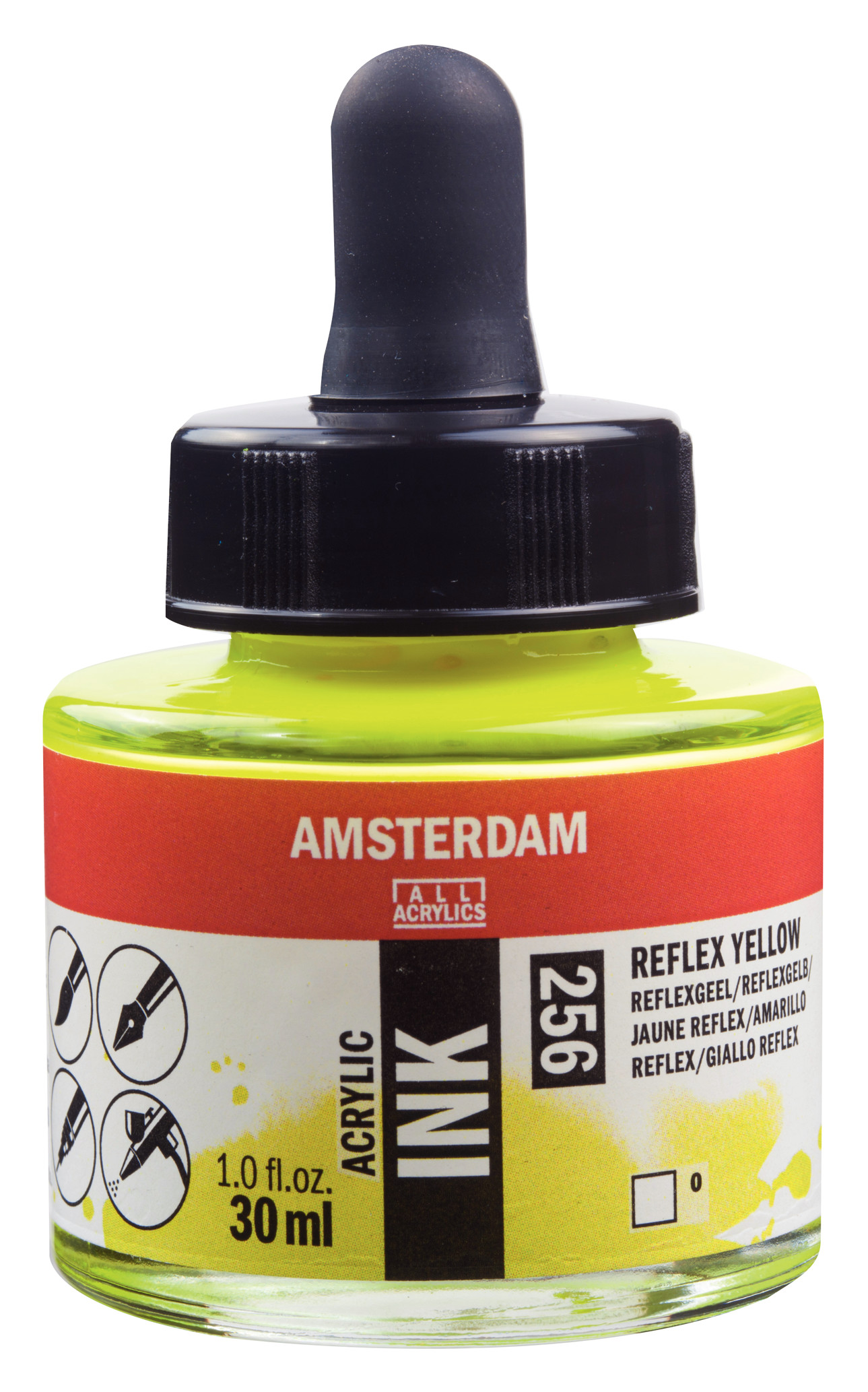 Amsterdam Acrylic Ink Bottle 30 ml Reflex Yellow 256