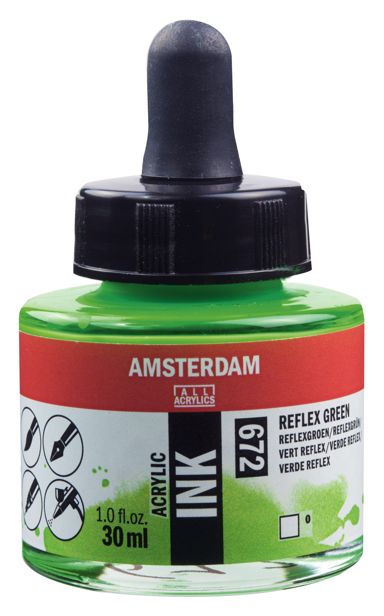 Amsterdam Acrylic Ink Bottle 30 ml Reflex Green 672