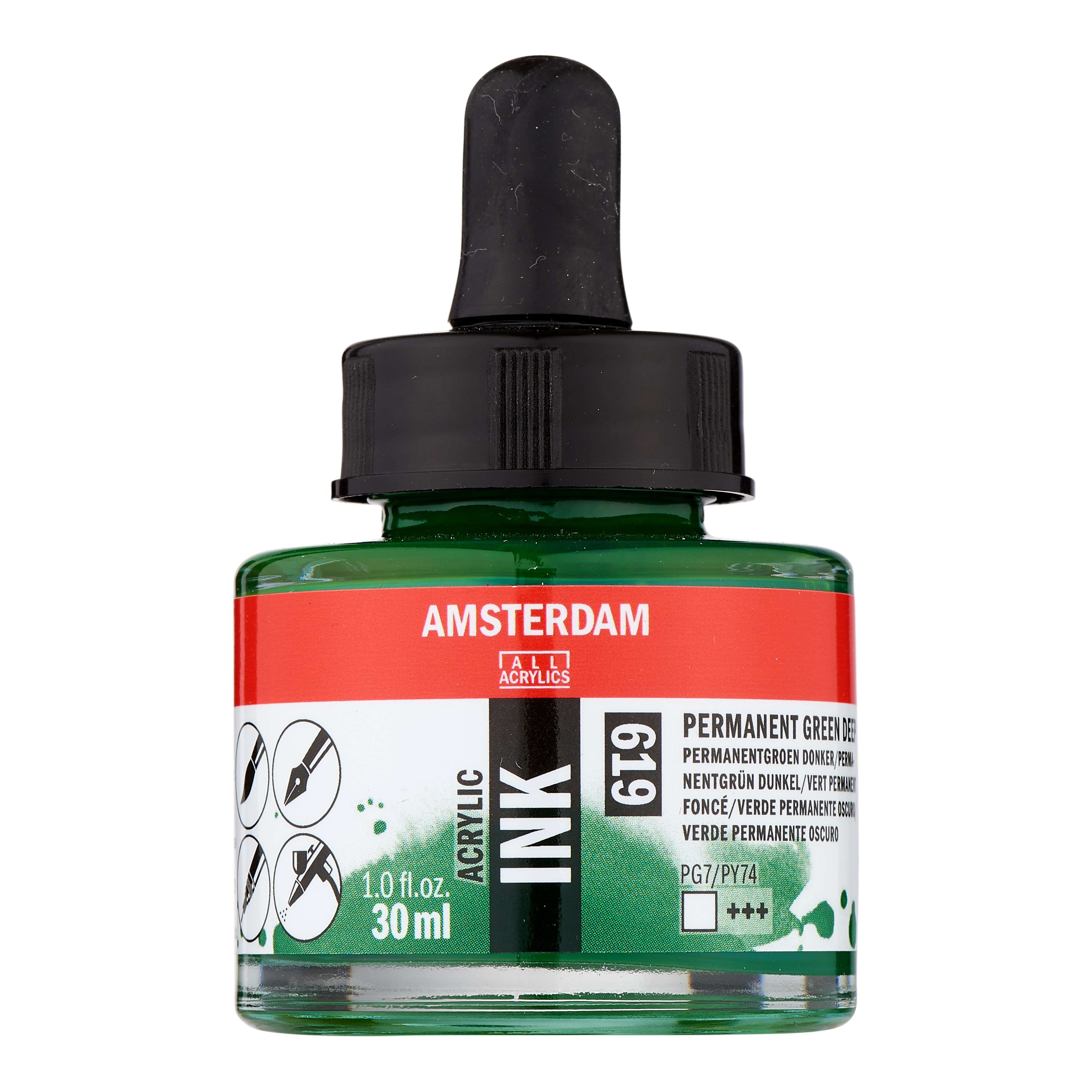 Amsterdam Acrylic Ink Bottle 30 ml Permanent Green Deep 619