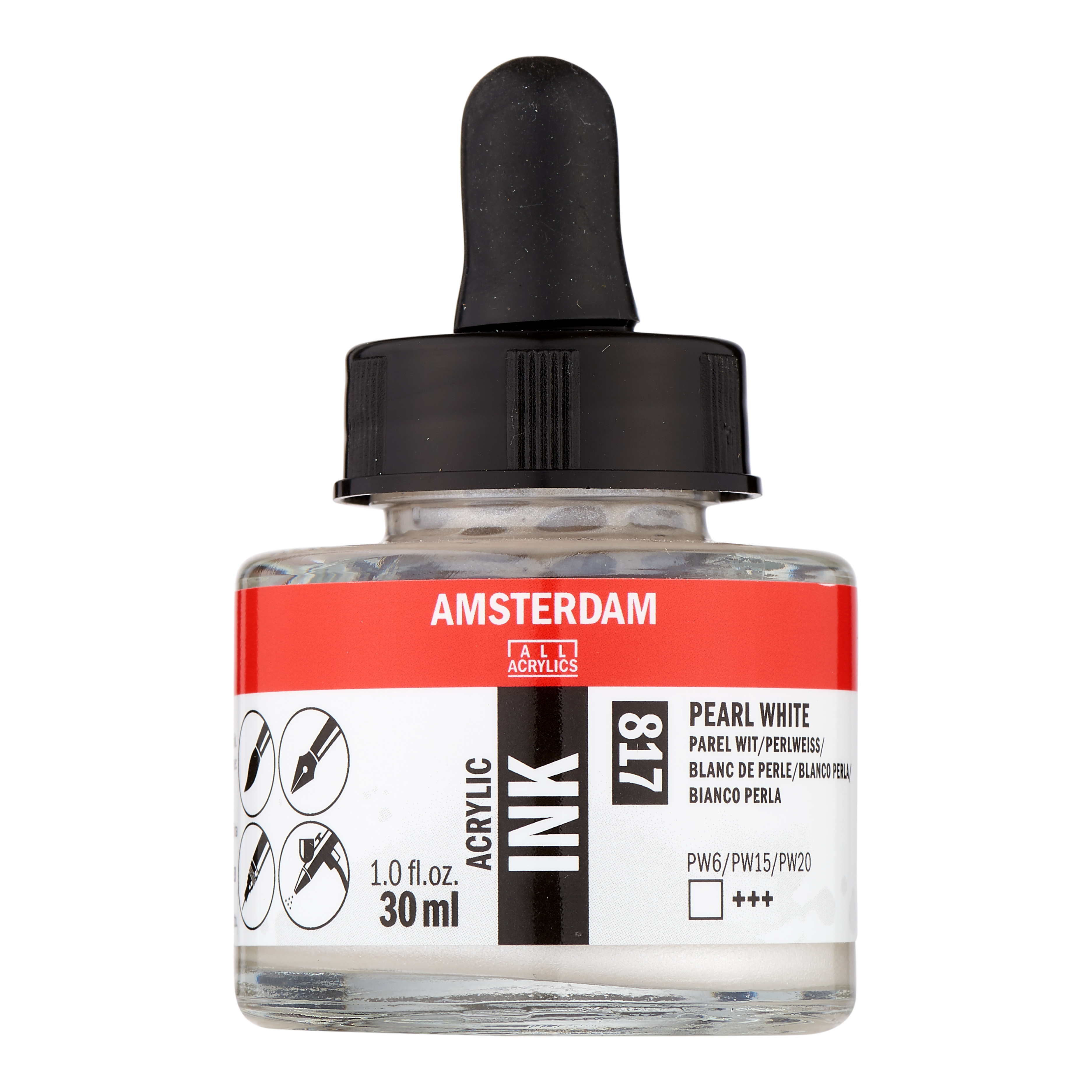 Amsterdam Acrylic Ink Bottle 30 ml Pearl White 817