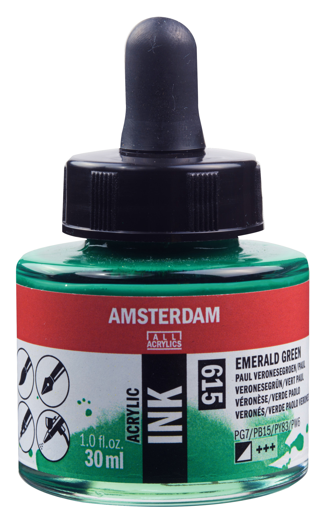 Amsterdam Acrylic Ink Bottle 30 ml Emerald Green 615