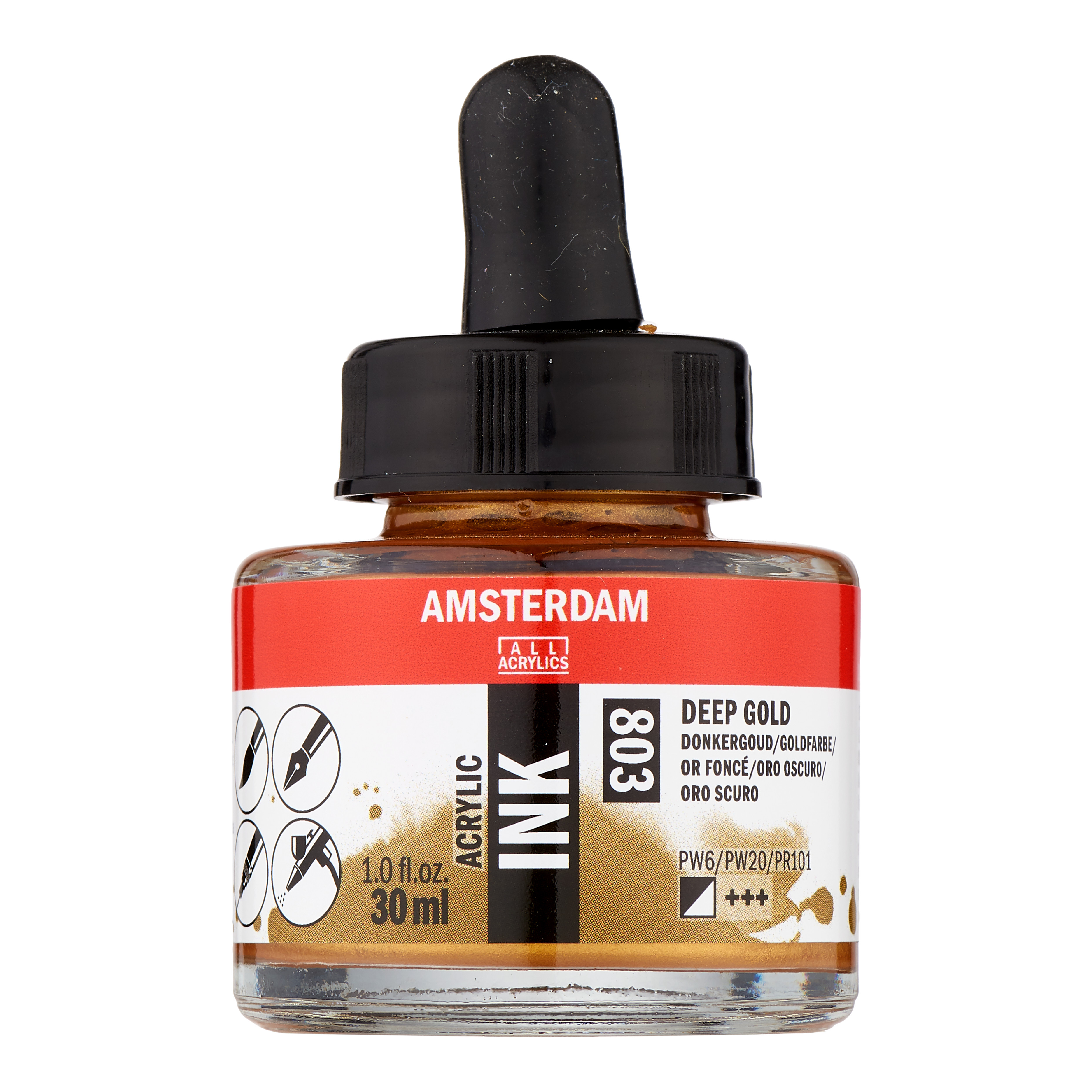Amsterdam Acrylic Ink Bottle 30 ml Deep Gold 803