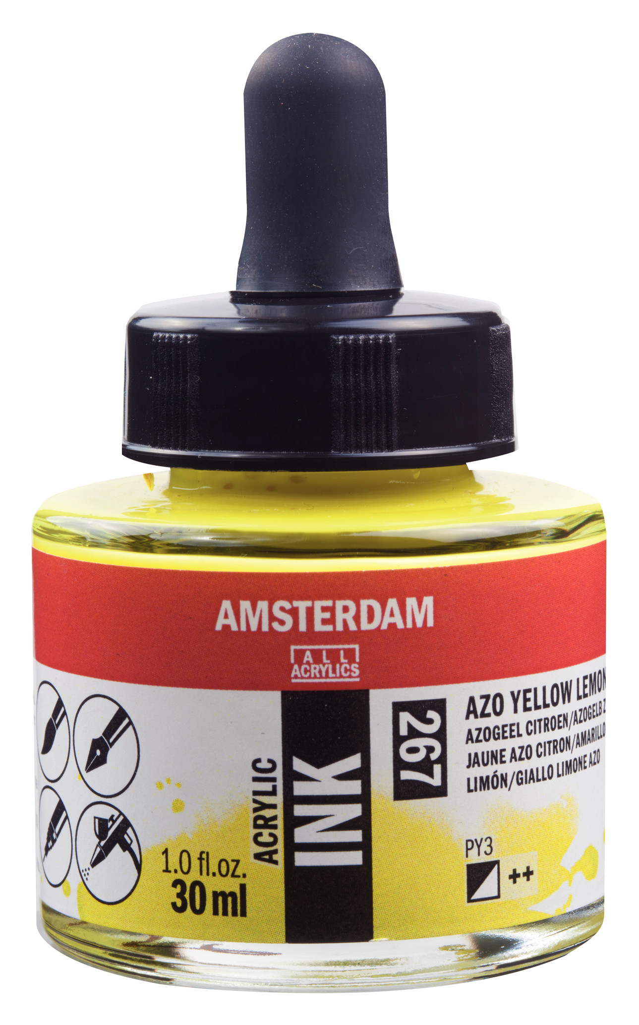 Amsterdam Acrylic Ink Bottle 30 ml Azo Yellow Lemon 267