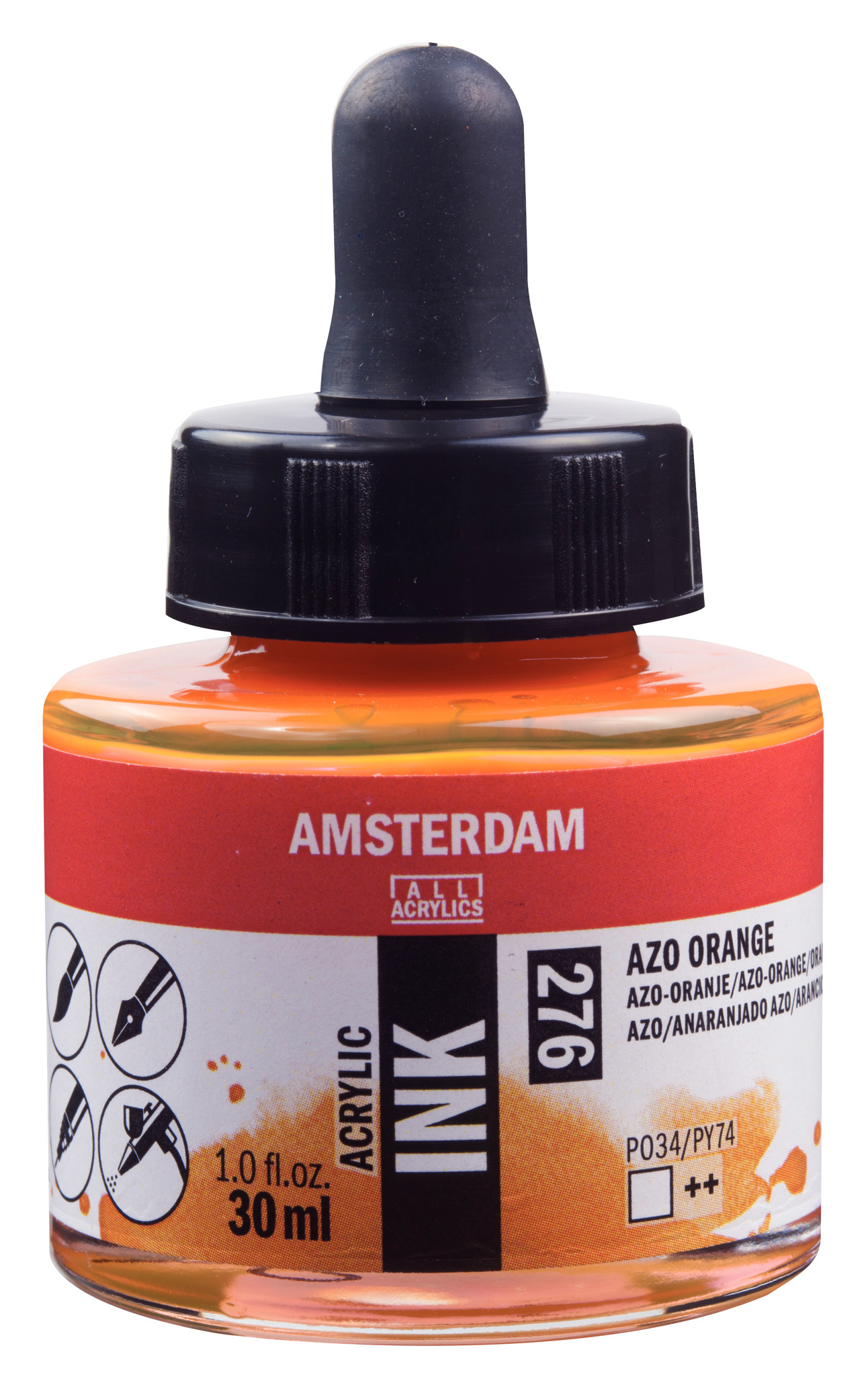 Amsterdam Acrylic Ink Bottle 30 ml Azo Orange 276